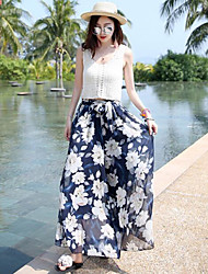 Women's High Rise High Elasticity Chinos Pants,Simple Wide Leg Pure Color Floral Solid