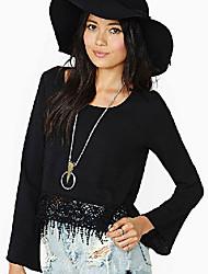 Для женщин Праздник Блуза Круглый вырез,Простое Однотонный Длинный рукав,Полиэстер