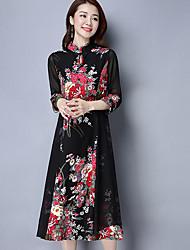 Feminino Rodado Vestido,Casual Bordado Colarinho Chinês Médio Manga ¾ Poliéster Primavera Verão Cintura Alta Sem Elasticidade Fina