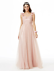 A-Line Straps Sweep / Brush Train Tulle Bridesmaid Dress with Flower(s) Pleats Criss-Cross Ruche by LAN TING BRIDE®