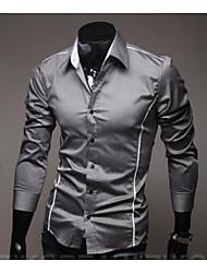 Masculino Camisa Social Casual Temática AsiáticaSólido Algodão Colarinho Clássico Manga Longa