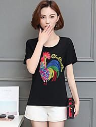 Damen Solide Einfach T-shirt,Rundhalsausschnitt Sommer Kurzarm Baumwolle Mittel
