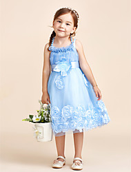 Ball Gown Knee-length Flower Girl Dress - Cotton Satin Tulle Halter with Beading Bow(s) Flower(s)
