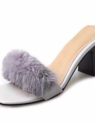 Для женщин Тапочки и Шлепанцы Удобная обувь Шерсть Лето Повседневный Для прогулок Комбинация материалов На плоской подошвеЧерный Бежевый