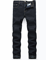 HOT! 28-42 Plus Size Men's Mid Rise strenchy Skinny Jeans PantsSimple Slim Solid High Quality Famous Brand Denim Jeans