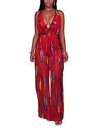 Для женщин Секси Винтаж Уличный стиль На каждый день Для клуба Праздник Комбинезоны,С высокой талией Тонкие ШирокиеСексуальные платья