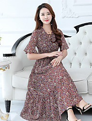 Women's Beach Holiday Loose Dress,Floral V Neck Maxi ½ Length Sleeve Polyester Summer High Rise Micro-elastic Thin