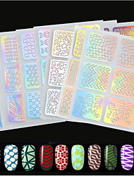 24pcs/set New Fashion Nail Art Laser Hollow Sticker Creative Lovely Pattern Design Colorful Image Design Hollow Stencil For Nail Polish DIY Beauty