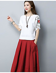 Damen Solide Retro Ausgehen T-shirt,Rundhalsausschnitt ½ Länge Ärmel Baumwolle