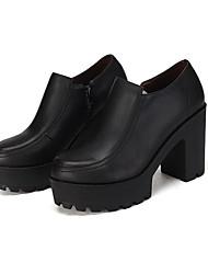 Feminino Saltos Sapatos formais Couro Primavera Outono Sapatos formais Salto Grosso Preto 12 cm ou mais
