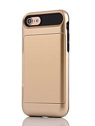 Назначение iPhone X iPhone 8 Чехлы панели Бумажник для карт Защита от удара Задняя крышка Кейс для Сплошной цвет броня Твердый PC для