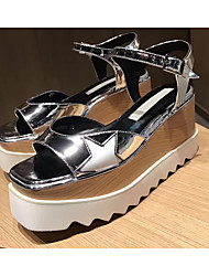 Women's Sandals Creepers Cowhide Summer Fall Wedding Casual Outdoor Office & Career Dress Party & Evening White Black Sliver 2in-2 3/4in