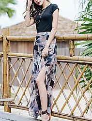 Mujer Sencillo Boho Casual/Diario Maxi Faldas,Corte Ancho Color Mixto Verano Otoño Floral Estampado