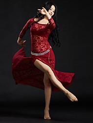 Dança do Ventre Roupa Mulheres Treino Renda Lantejoulas 3 Peças Luva de comprimento de 3/4 Caído Vestido Cinto Calções