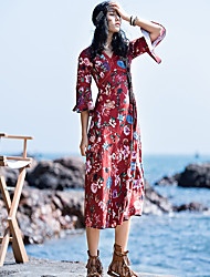 Women's Daily Casual Loose Dress,Floral V Neck Midi 3/4 Length Sleeve Polyester Summer Mid Rise Inelastic Thin