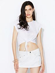 Damen Solide Sexy Ausgehen T-shirt,Rundhalsausschnitt Sommer Ärmellos Baumwolle