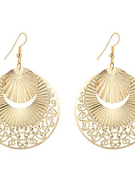 High Quality Fashion Elegant Charm Plated Gold/Silver Hollow Sector Shape Round Drop Earrings For Women Lovely Dangle Earrings Jewelry Hot