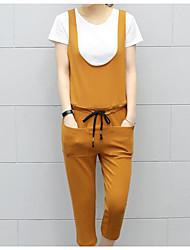 Debardeur Pantalon Costumes Femme Printemps Eté Sans Manches Col en U Stylé Micro-élastique