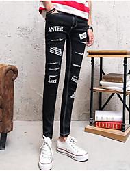 Masculino Sensual Cintura Média Micro-Elástica Chinos Calças,Delgado Sólido Carta e Número
