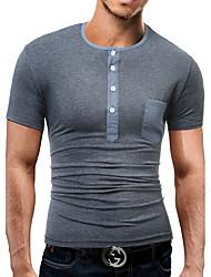 Tee-shirt Homme,Couleur Pleine Couleur unie Quotidien Décontracté simple Bohème Eté Manches Courtes Bijoux 90% Polaire 10% Soie Naturelle