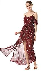 SUOQI Women Summer Dress Sexy Slings Chiffon Dress Floral Print Maxi Holiday Dresses