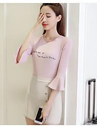 Damen Solide Einfach Sonstiges T-shirt,Rundhalsausschnitt 3/4 Ärmel Andere