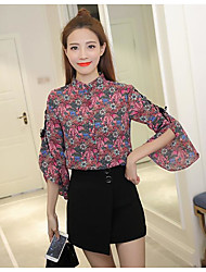 Feminino Blusa Casual Simples Primavera,Floral Fibra Sintética Colarinho Chinês Manga ¾