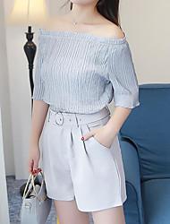 Для женщин Лето Рубашка Брюки Костюмы Круглый вырез 1/2 Length Sleeve