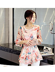 Women's Daily Cute Spring Summer Blouse,Floral Round Neck 3/4 Length Sleeves Rayon Polyester Medium