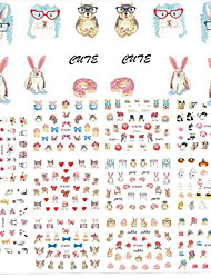 11Design/pcs New Fashion Lovely Cartoon Design Nail Art DIY Beauty 3D Sticker Cute Animal Rabbit Cat Creative Design Decoration E589-599