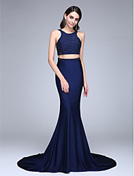 TS Couture Formal Evening Dress - Two Pieces Trumpet / Mermaid Jewel Court Train Jersey with Beading Sequins