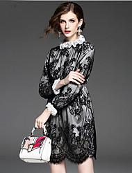 Feminino Evasê Vestido,Para Noite Casual Férias Simples Moda de Rua Sólido Colarinho Chinês Acima do Joelho Manga Longa Poliéster
