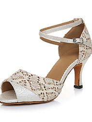 Maßfertigung Damen Latin Glanz Sandalen Sneakers Professionell Kristallsteine Strass Blockabsatz Weiß 5 - 6,8 cm