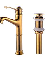 Conjunto CentralVálvula CerâmicaDourado , Torneira pia do banheiro