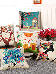11 Style 3D Printing Flower Tree Pillow Covers Cotton/Linen Pillow Case
