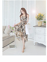 Women's Casual Simple Chiffon Dress,Floral Strapless Knee-length Long Sleeve Chiffon Summer High Rise Inelastic Thin