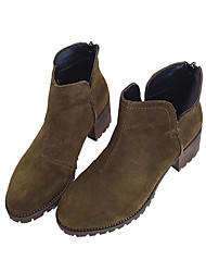 Women's Boots Comfort Suede Spring Casual Green Black Flat