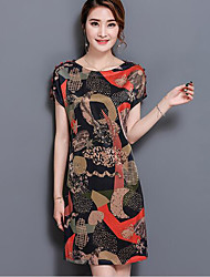 Women's Daily Loose Dress,Pattern Round Neck Above Knee Short Sleeve Silk Summer Mid Rise Micro-elastic Thin
