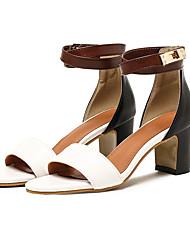Damen Sandalen Gladiator Pumps Kunstleder Sommer Normal Kleid Gladiator Pumps Blockabsatz Weiß Schwarz Braun 5 - 7 cm