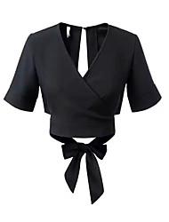 Damen Solide Einfach Normal T-shirt,V-Ausschnitt Kurzarm Polyester