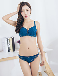 Women's Sexy 3/4 cup Bras & Panties Sets Adjustable Push-up Strap Underwire Bra Cotton Lace Blue/Black/White/Purple/Green