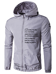 Men's Sport Casual/Daily Casual/Daily Sport Spring/Fall Winter Jacket,printing Hooded Long Sleeve Regular Polyester