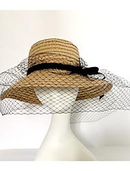Для женщин Для вечеринки На каждый день Мода Шляпа от солнца,Весна/осень Лето Солома Однотонный