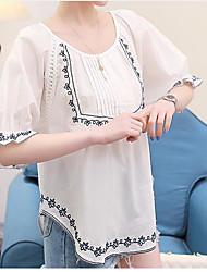 Damen Stickerei Einfach T-shirt,Rundhalsausschnitt ¾-Arm Baumwolle