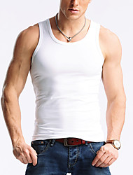 Masculino Camiseta VintageSólido Seda Decote V Sem Manga