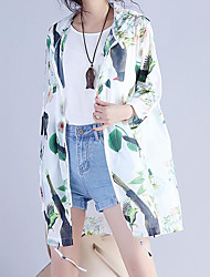 Women's Casual/Daily Street chic Spring Summer Trench Coat,Floral Round Neck Long Sleeve Long Cotton