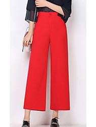 Feminino Simples Cintura Alta Micro-Elástica Perna larga Calças,Largo