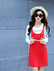Women's Casual/Daily Simple Summer T-shirt Dress Suits,Solid Round Neck Long Sleeve Micro-elastic