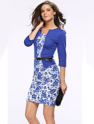 Women's Office/Career Business Corporate Clothing Simple Sophisticated A Line Bodycon Dress,Floral Pattern Patchwork Stand Knee-length3/4