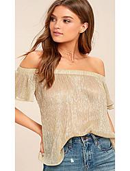 Tee-shirt Femme,Couleur Pleine Rayé Sexy Mignon Manches Courtes Epaules Dénudées Coton Spandex